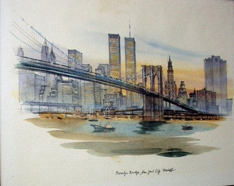 New York City Brooklyn Bridge Scene Twin Towers Vintage Watercolor Painting Artist Mostoff Home Decor Picture