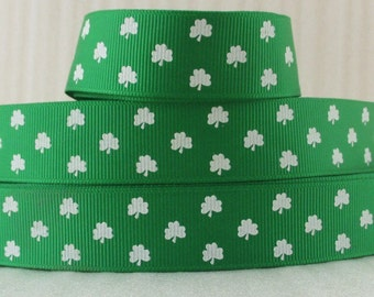 "By the Yard 7/8"" Green St. Patricks Day Grosgrain Ribbon Great for Hair Bows Crafts Sewing Scrapbooking Lisa"