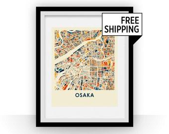 Osaka Map Print - Full Color Map Poster