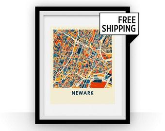 Newark Map Print - Full Color Map Poster