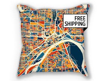 St Paul Map Pillow - Minnesota Map Pillow 18x18