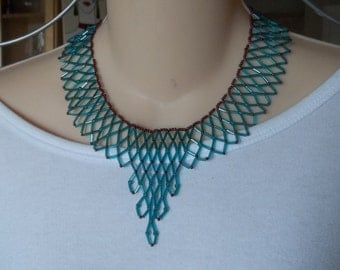 Teal blue bugle bead necklace