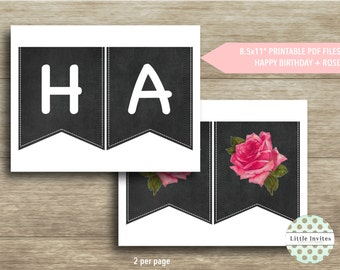 Happy Birthday Banner/Printable Happy Birthday flags/Chalkboard Banner/Bunting/Pennant Flags/Banner/Instant Download/DIY Printable-Kate