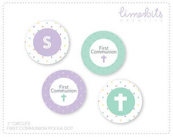 "EDITABLE 2"" First Communion Polka Dot Cupcake Toppers. TEAL/LAVENDER"