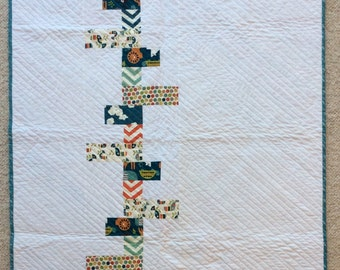 White and Green baby quilt, Quilt Art, wall hanging, home decor, fabric art