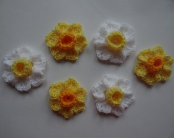 6 crochet spring Daffodil, Narcissus flower, embellishment, applique, scrapbooking, St. David's Day, Welsh flower, wedding, cards