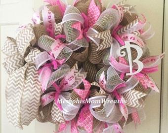 Baby Girl Burlap Monogram Deco Mesh Wreath - Monogram Wreath - Burlap Wreath - Baby Wreath