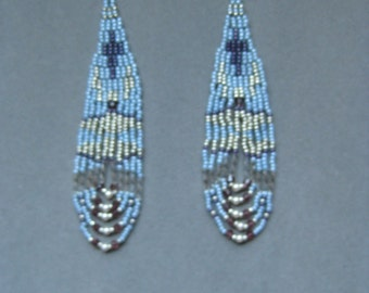 Pale Blue Silver and Burgundy Native American Style Seed Beaded Earrings