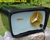 BLUETOOTH MP3 Ready - So Jetsons Looking Retro Vintage Aqua and Black 1959 Musicaire MD300 AM Tube Radio Near Mint!