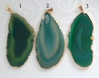 Gold Plated Agate Pendant, Greenl Agate Slice, Agate Pendant, 3/16B
