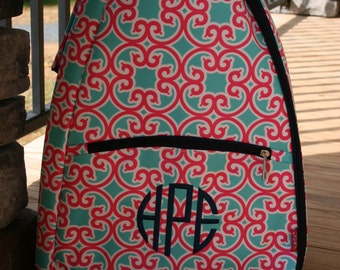 Girls Monogrammed Tennis Bag Pink Mint Floral Navy Trim Personalized Girls Tennis Backpack