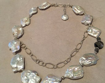 Square Baroque Pearl and Sterling Silver Necklace