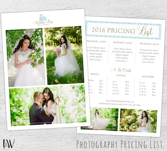 Wedding Photography Pricing Template Photoshop Template