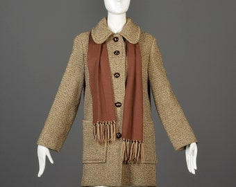 Vintage 60s Boxy Car Coat Wool Tweed Brown Cream Patch Pockets Casual Winter