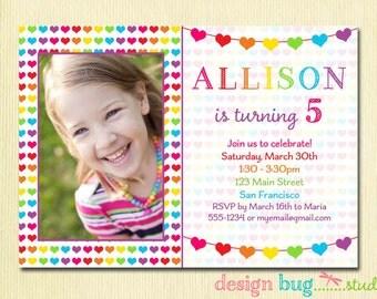 Rainbow Hearts Birthday Invitation - Valentine Birthday -  Rainbow Colors - Girls Printable Photo Invite