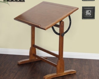 Drafting Table Vintage Style Rustic Oak 36x24 Free Shipping