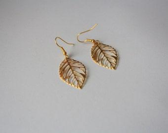 Leaf Filigree Gold Plated Earrings, Dangle Charm Earrings, Autumn Fall Jewelry