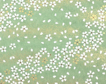 Chiyogami Paper Cherry Blossom Green 617c for Handmade Art and Craft Projects