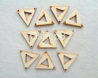 Wood Triangles Ready to be Painted, 10 Unfinished Wood Triangles Tile for Jewelry, Geometric Jewelry, wood Triangles 40mm