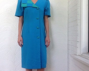 1980s Asymmetrical Collar Dress