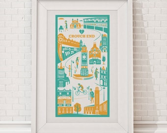Crouch End Print / London illustration