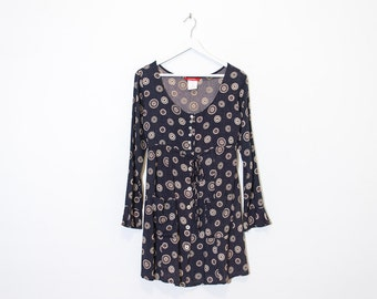 on sale - navy & beige floral mini dress / long sleeve button-up dress / size S / M