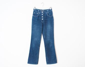 on sale - semi high waist flared jeans / medium wash button-up denim / size 24
