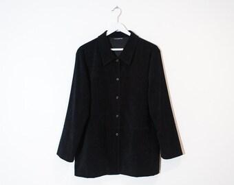 on sale - black velveteen button-up jacket / velvet press buttons fall jacket / size M / L