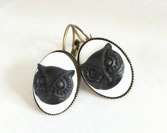 Earrings Black Owl