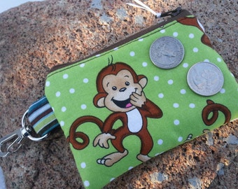 Monkey Coin Purse, Small Zipper Wallet