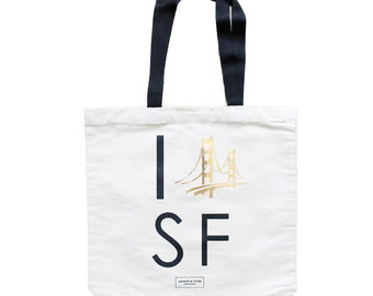 San Francisco Bachelorette Tote, Wedding Gift Bag, Golden Gate Bridge