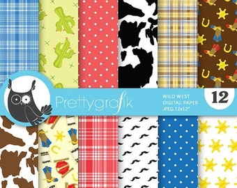 80% OFF SALE Wild west cowboy digital paper, commercial use, scrapbook papers, background - PS672