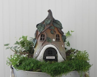 Fairy House Large, Fairy Garden Cottage, Vine Roof, Miniature Garden Accessories, Fairy Garden Supply, Handcrafted Welcome or Believe Sign
