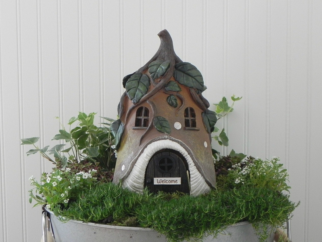 Fairy House Large Fairy Garden Cottage Vine Roof Miniature