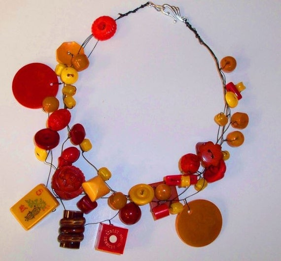 Vintage Bakelite and Bauble Necklace, Diamonds and Rust One of a Kind necklace series
