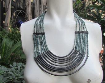 Bohemian Hippie Statement Collar Bib Necklace Metal Ceramic Beads