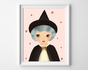 Witch Print - Witch Illustration - Halloween Art - Witch Girl Wall Art
