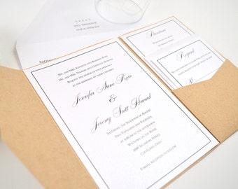 Rustic Wedding Invitation, Pocketfold , Classy, Pocket Invitation, Simple, Calligraphy, Romantic, Elegant Kraft Design, Sample