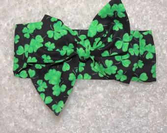 Bow head wrap, St Patrick Day headband