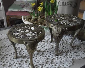 Matching Pair of Vintage Brass Trivets, Brass Pot Stands, Plant Pot Stands