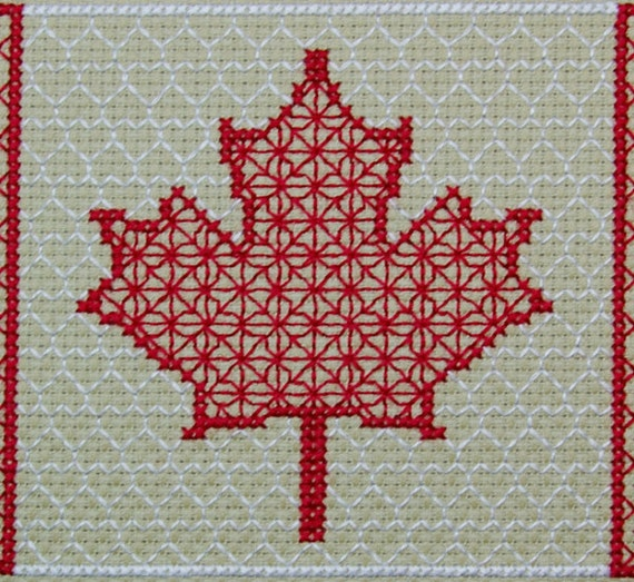 Canada Flag Blackwork Pattern Canadian Maple Leaf Counted