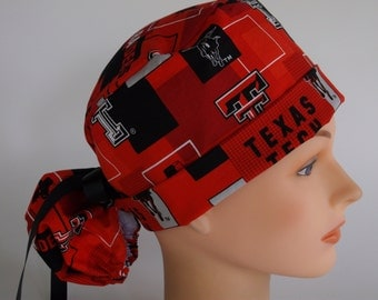 Texas Tech Red Raiders fabric mod block ponytail scrub cap - Womens lined surgical scrub hat, 150-2160 B
