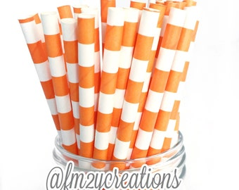 Orange PAPER STRAWS | Paper Straw |  Circle Paper Straws | Orange Birthday Party | Boy Baby Shower Decor | Party Decor | Sailor Striped