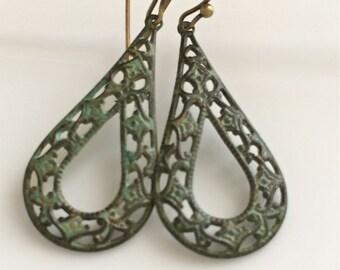 Verdigris Patina Earrings  Filigree Teardrops  Bohemian Earrings  Brass Earrings  Boho  Gypsy Dangles