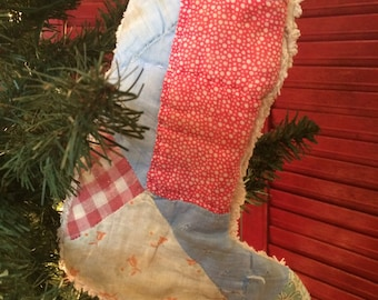 Small Quilted Christmas Stocking from Vintage Cutter Quilt #25