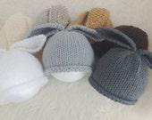 Newborn bunny rabbit hats - neutral unisex boy girl - cream white grey charcoal tan brown cocoa black Easter photo prop shoot twins triplets