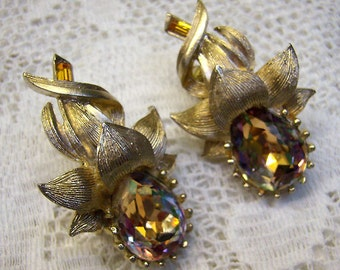 "Vintage ""CORO"" Amber Topaz Rhinestone Flower Clip Back Earrings...""Made in England""...Pat.280950...Brushed Gold...Large Topaz Earrings"