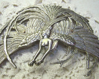 "Sale...Vintage Art Nouveau Revival Brooch...""DURI"" Mythical Woman With Animal Paw Feet..Huge Feather Headdress...Statement Pin"