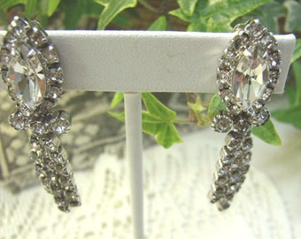 "Vintage Rhinestone Earrings...Signed ""CONTINENTAL""...Chandelier Clip Ons...Wedding."