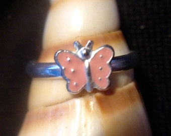 Sterling Silver Pink Enameled Butterfly Adjustable Baby Ring (st - 1550)